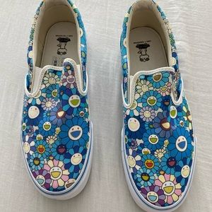 Takashi Murakami Blue Flowers Slip-On Vans